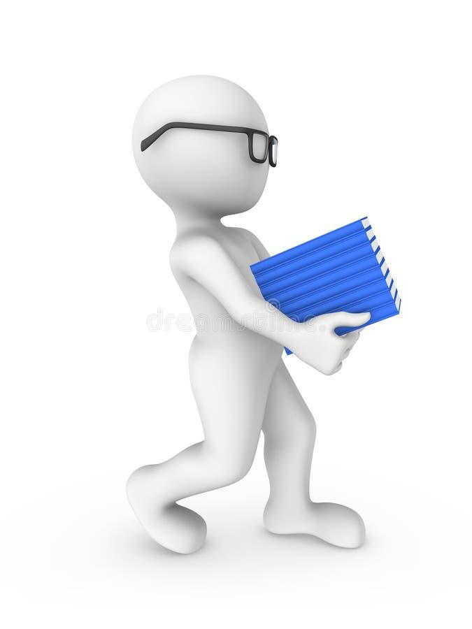 τρισδιάστατος λευκός άνθρωπος που διαβάζει το μπλε βιβλίο που απομονώνεται στο άσπρο υπόβαθρο ελεύθερη απεικόνιση δικαιώματος