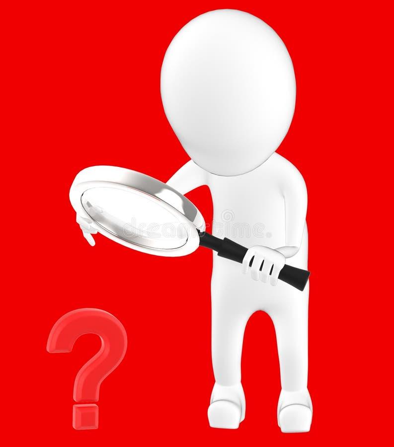 τρισδιάστατος λευκός χαρακτήρας που κρατά έναν πιό magnifier στα χέρια και που φαίνεται ερωτηματικό μέσω του διανυσματική απεικόνιση