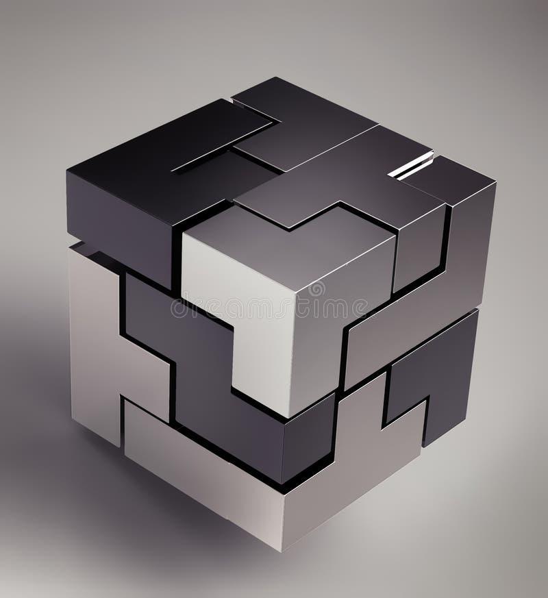 τρισδιάστατος μαύρος κύβ&o διανυσματική απεικόνιση