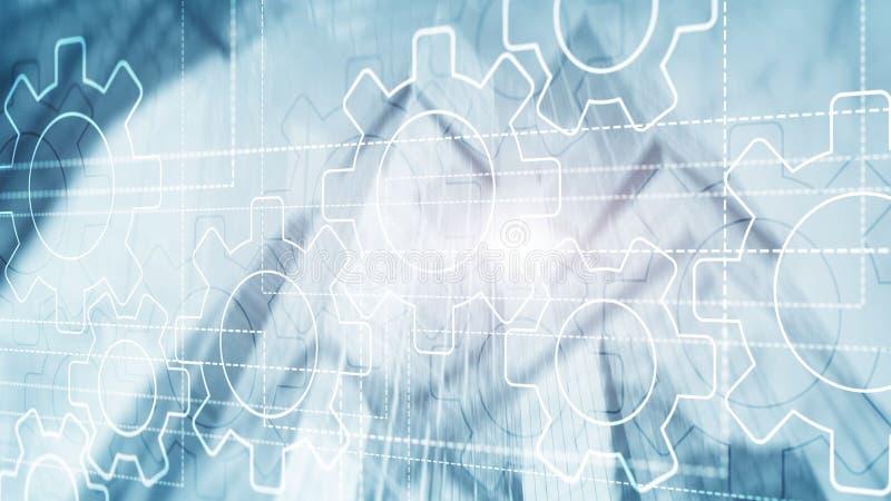 τρισδιάστατος μηχανισμός εργαλείων, ψηφιακός μετασχηματισμός στο αφηρημένο υπόβαθρο διανυσματική απεικόνιση