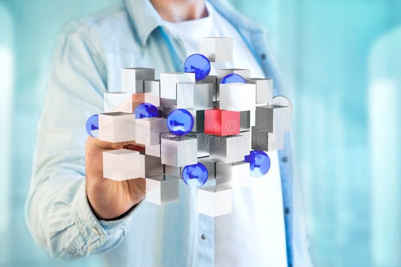 τρισδιάστατος μπλε και άσπρος κύβος απόδοσης σε μια φουτουριστική διεπαφή στοκ εικόνα με δικαίωμα ελεύθερης χρήσης