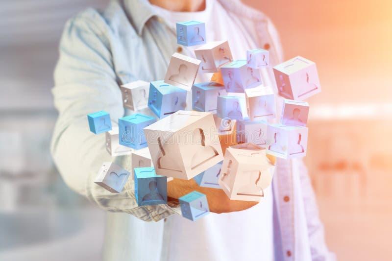 τρισδιάστατος μπλε και άσπρος κύβος απόδοσης σε μια φουτουριστική διεπαφή απεικόνιση αποθεμάτων