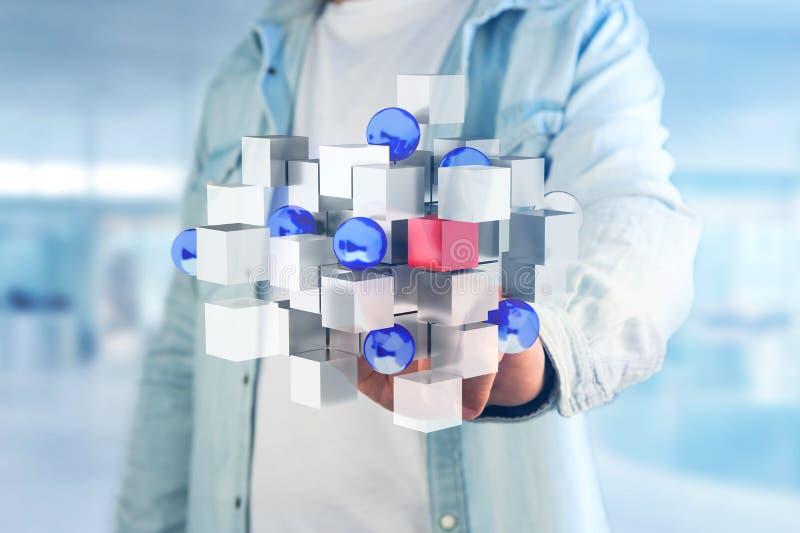 τρισδιάστατος μπλε και άσπρος κύβος απόδοσης σε μια φουτουριστική διεπαφή ελεύθερη απεικόνιση δικαιώματος