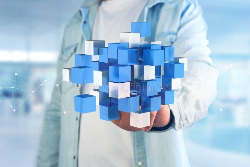 τρισδιάστατος μπλε και άσπρος κύβος απόδοσης σε μια φουτουριστική διεπαφή στοκ φωτογραφία με δικαίωμα ελεύθερης χρήσης