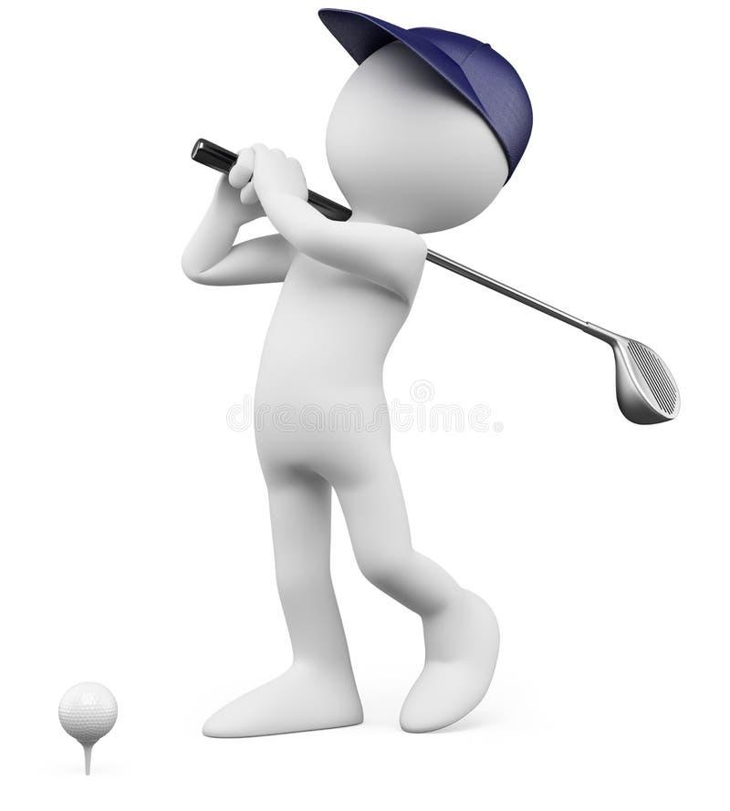 τρισδιάστατος παίκτης γκολφ γκολφ σφαιρών από να τοποθετήσει στο σημείο αφετηρίας διανυσματική απεικόνιση