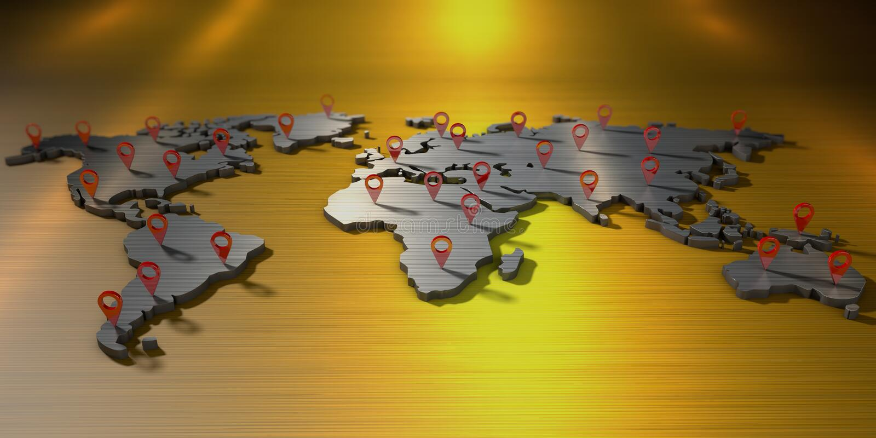 τρισδιάστατος παγκόσμιος χάρτης απόδοσης με πολλά σημάδια του geolocation ελεύθερη απεικόνιση δικαιώματος