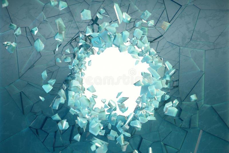τρισδιάστατος τοίχος απεικόνισης του πάγου με μια τρύπα στο κέντρο των κομματιών στα μικρά κομμάτια Θέση για το έμβλημά σας στοκ εικόνες