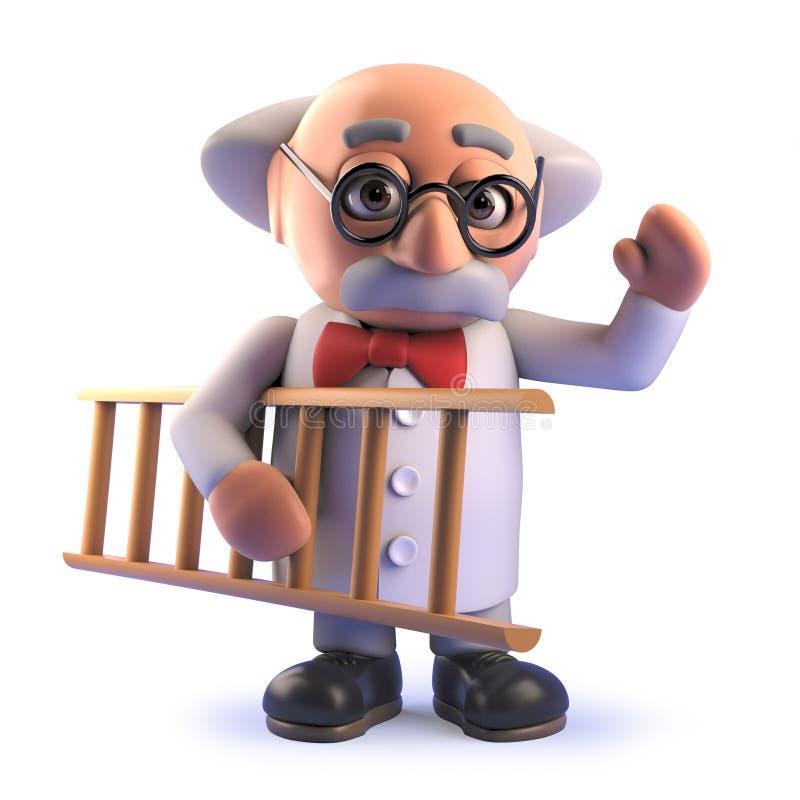 Τρισδιάστατος τρελλός καθηγητής επιστημόνων κινούμενων σχεδίων που κρατά μια σκάλα απεικόνιση αποθεμάτων