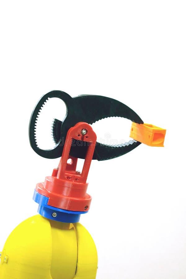τρισδιάστατος τυπωμένος σφιγκτήρας ρομπότ, κάτοχος Πλαστικός χειριστής, ρομποτική εργαλειομηχανή χεριών που τυπώνεται στον τρισδι στοκ εικόνα με δικαίωμα ελεύθερης χρήσης