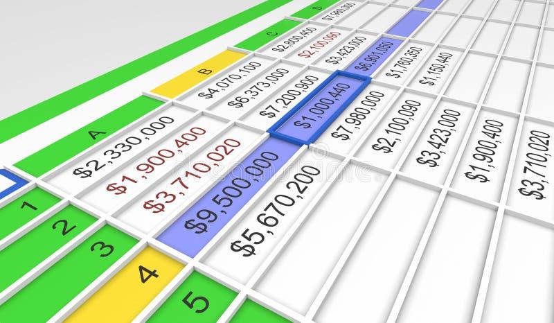τρισδιάστατος υπολογισμός με λογιστικό φύλλο (spreadsheet) διανυσματική απεικόνιση