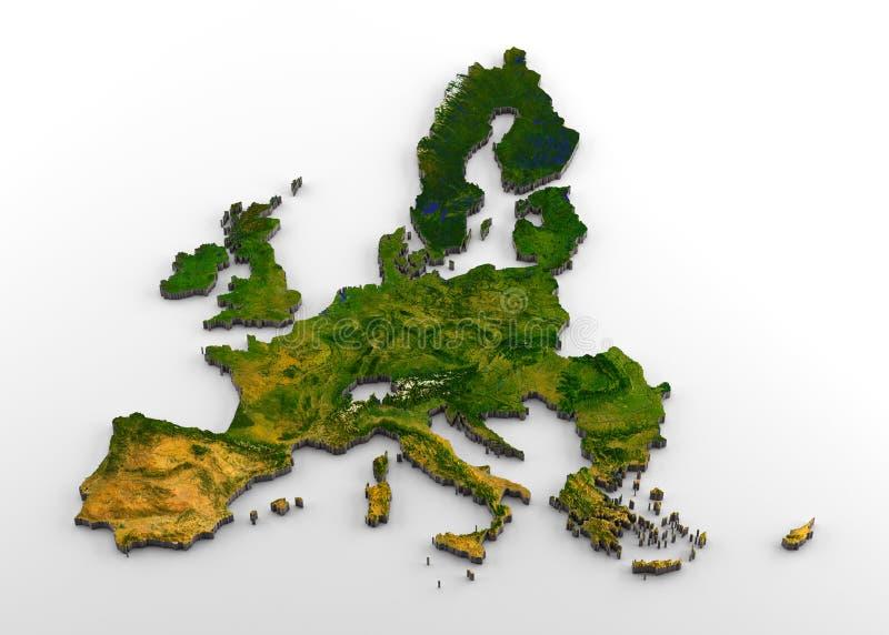 Τρισδιάστατος φυσικός χάρτης προ-Brexit της Ευρωπαϊκής Ένωσης με την ανακούφιση ελεύθερη απεικόνιση δικαιώματος