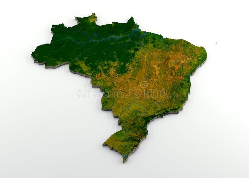 Τρισδιάστατος φυσικός χάρτης της Βραζιλίας με την ανακούφιση ελεύθερη απεικόνιση δικαιώματος