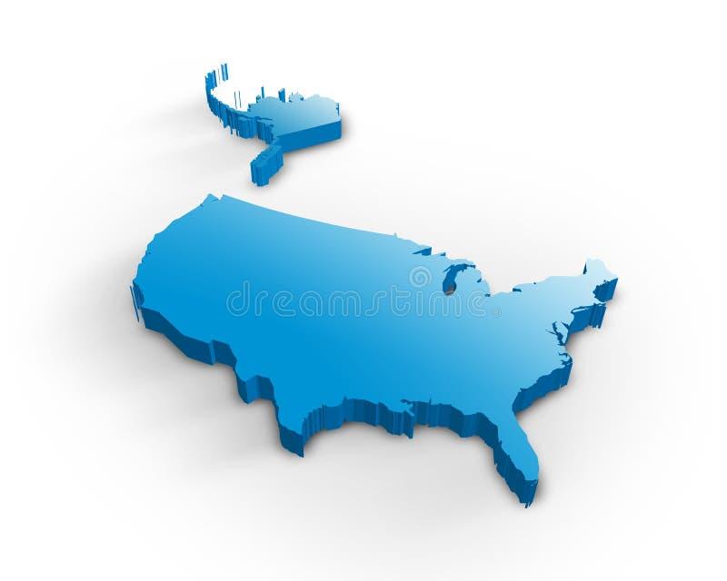 τρισδιάστατος χάρτης ΗΠΑ ελεύθερη απεικόνιση δικαιώματος