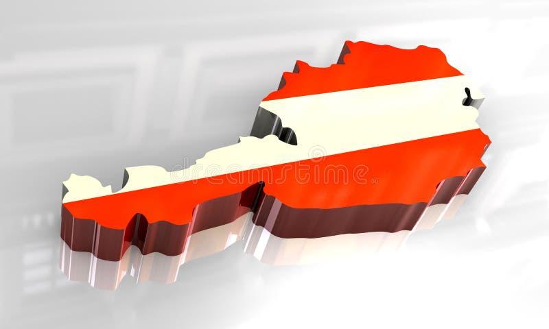 τρισδιάστατος χάρτης σημαιών της Αυστρίας ελεύθερη απεικόνιση δικαιώματος