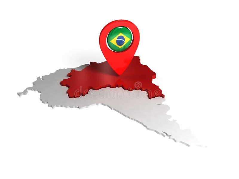 Τρισδιάστατος χάρτης της Βραζιλίας διανυσματική απεικόνιση