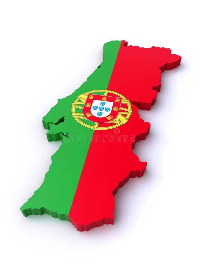τρισδιάστατος χάρτης της Πορτογαλίας ελεύθερη απεικόνιση δικαιώματος