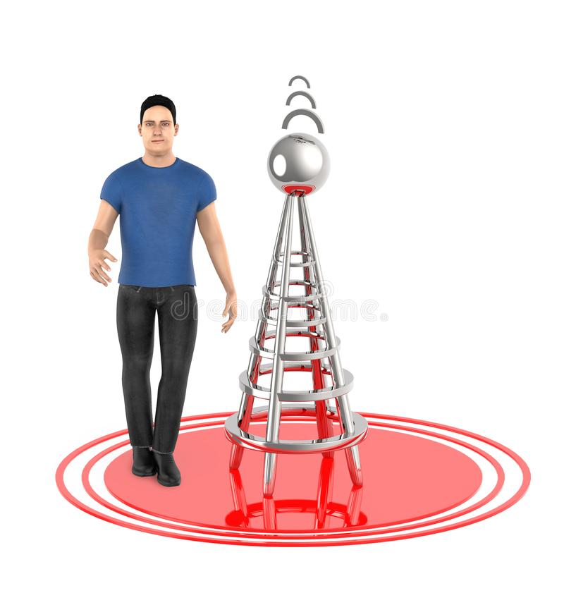 τρισδιάστατος χαρακτήρας, άτομο, ασύρματος πύργος και τα σήματά του ελεύθερη απεικόνιση δικαιώματος