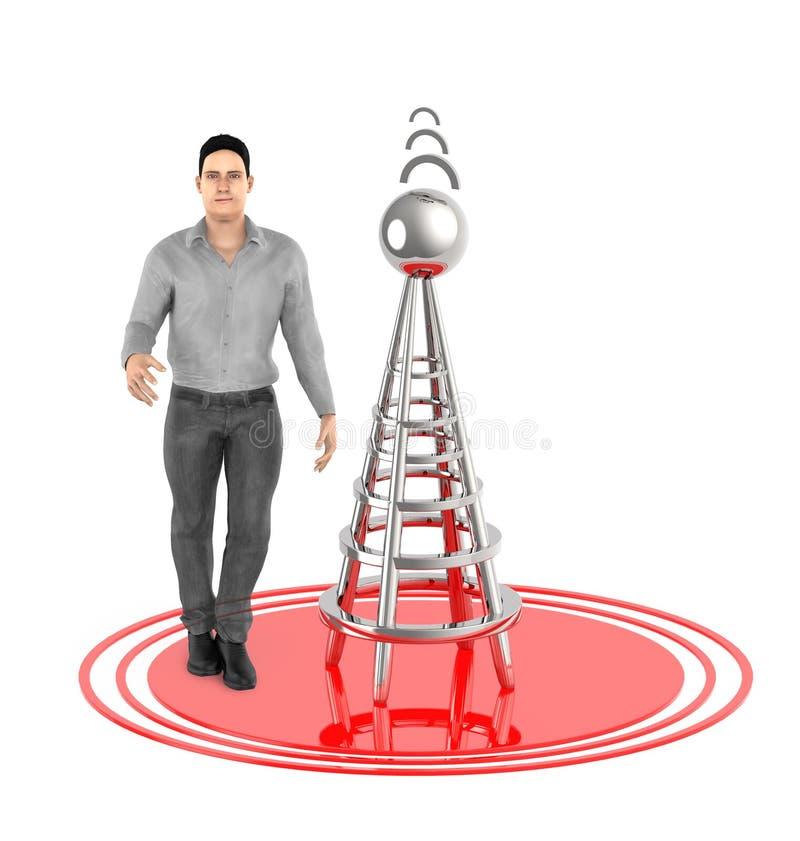 τρισδιάστατος χαρακτήρας, άτομο, ασύρματος πύργος και τα σήματά του απεικόνιση αποθεμάτων