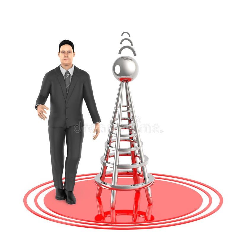 τρισδιάστατος χαρακτήρας, άτομο, ασύρματος πύργος και τα σήματά του διανυσματική απεικόνιση