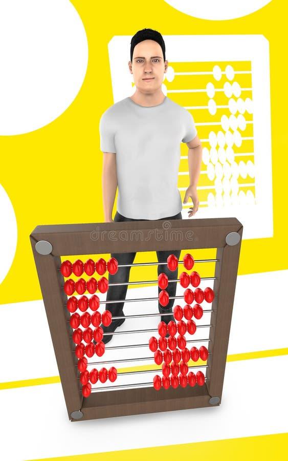 τρισδιάστατος χαρακτήρας, άτομο και ένας άβακας - κίτρινο υπόβαθρο διανυσματική απεικόνιση