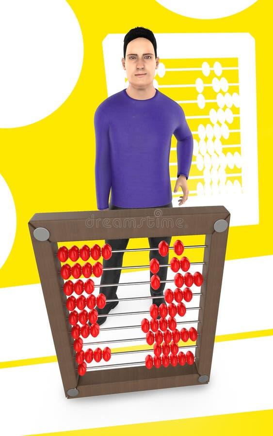τρισδιάστατος χαρακτήρας, άτομο και ένας άβακας - κίτρινο υπόβαθρο απεικόνιση αποθεμάτων