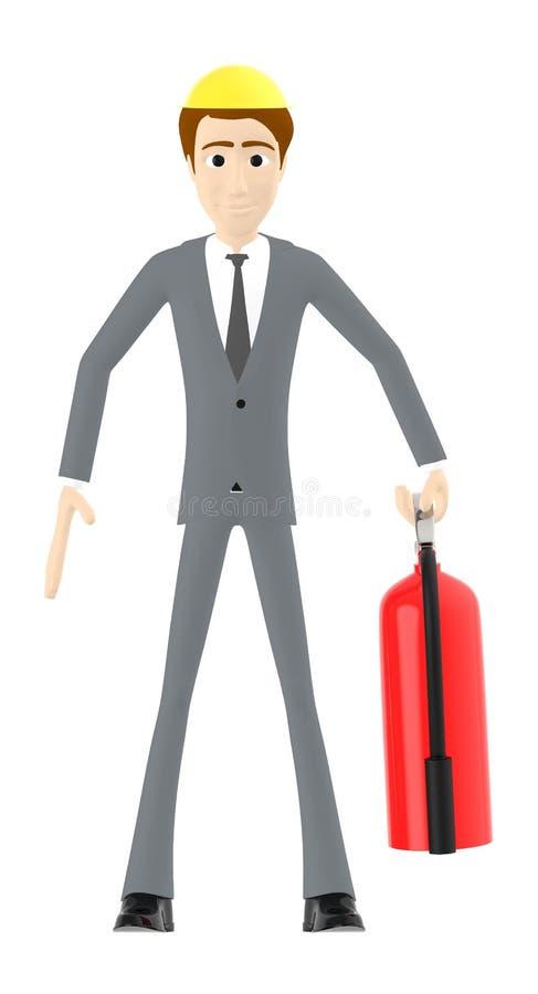 τρισδιάστατος χαρακτήρας, άτομο που φορά το κράνος ασφάλειας και που κρατά τον πυροσβεστήρα ελεύθερη απεικόνιση δικαιώματος