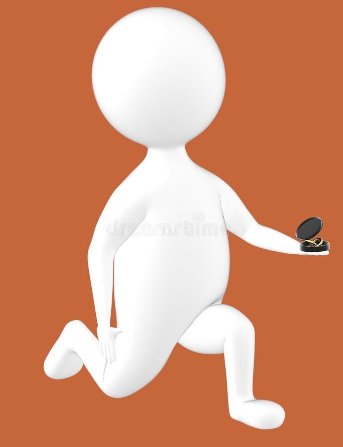 τρισδιάστατος χαρακτήρας, άτομο στο γόνατο και πρόταση με ένα δαχτυλίδι στο χέρι του απεικόνιση αποθεμάτων