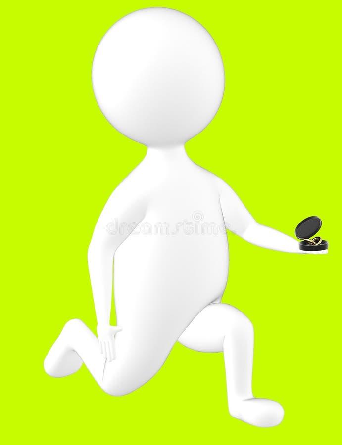 τρισδιάστατος χαρακτήρας, άτομο στο γόνατο και πρόταση με ένα δαχτυλίδι στο χέρι του ελεύθερη απεικόνιση δικαιώματος