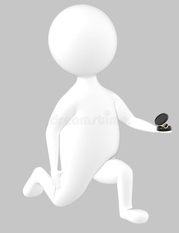 τρισδιάστατος χαρακτήρας, άτομο στο γόνατο και πρόταση με ένα δαχτυλίδι στο χέρι του διανυσματική απεικόνιση