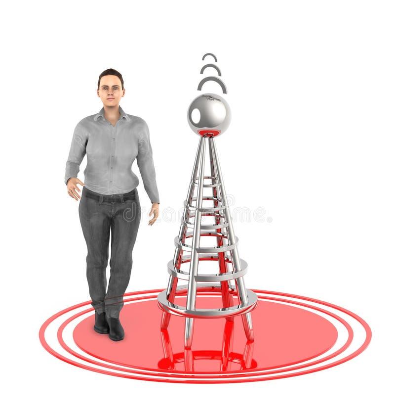 τρισδιάστατος χαρακτήρας, γυναίκα, ασύρματος πύργος και τα σήματά του διανυσματική απεικόνιση