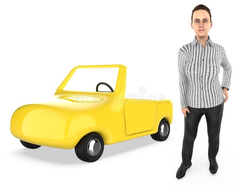 τρισδιάστατος χαρακτήρας, γυναίκα, και ένα αυτοκίνητο διανυσματική απεικόνιση