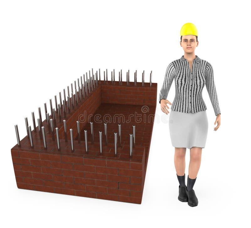 τρισδιάστατος χαρακτήρας, γυναίκα που φορά το καπέλο ασφάλειας και που στέκεται κοντά σε ένα εργοτάξιο οικοδομής ελεύθερη απεικόνιση δικαιώματος