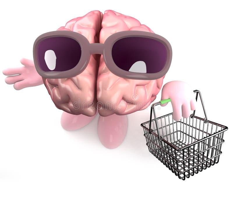 Τρισδιάστατος χαρακτήρας εγκεφάλου κινούμενων σχεδίων που κρατά ένα καλάθι αγορών διανυσματική απεικόνιση
