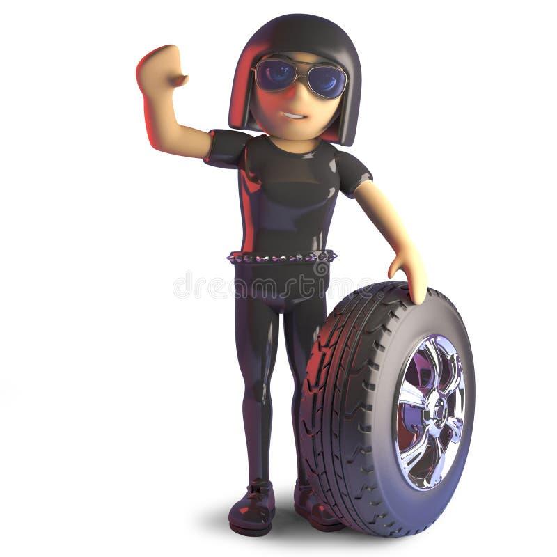 τρισδιάστατος χαρακτήρας κινουμένων σχεδίων κοριτσιών goth στο λατέξ catsuit με μια ρόδα και ένα ελαστικό αυτοκινήτου διανυσματική απεικόνιση