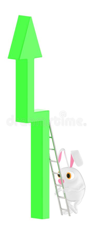τρισδιάστατος χαρακτήρας, κουνέλι που αναρριχείται μέχρι ένα βέλος που χρησιμοποιεί μια σκάλα διανυσματική απεικόνιση
