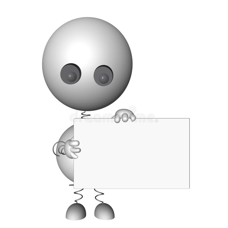 τρισδιάστατος χαρακτήρας που κρατά ένα χαρτόνι μηνυμάτων ελεύθερη απεικόνιση δικαιώματος