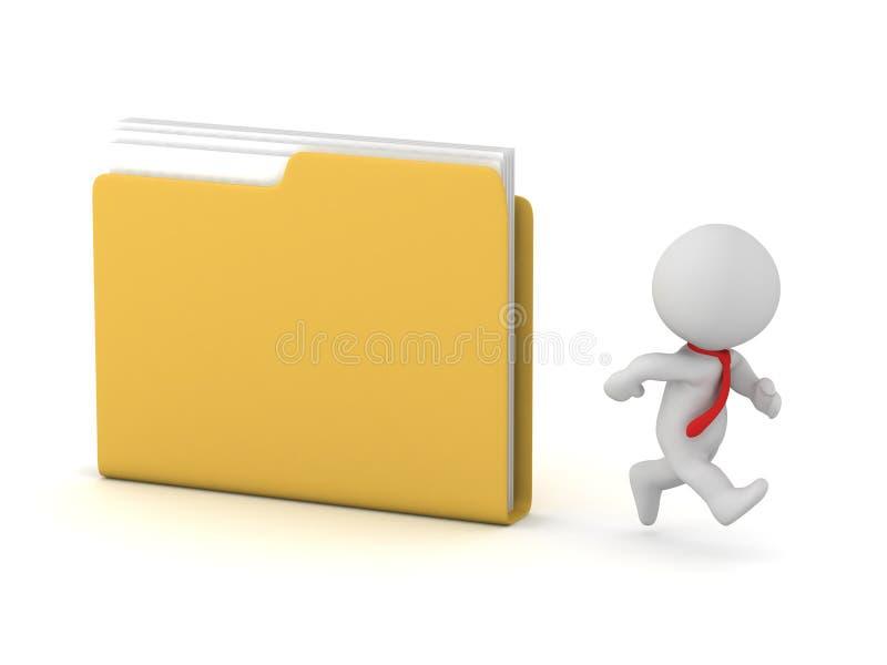 τρισδιάστατος χαρακτήρας που τρέχει μακρυά από έναν φάκελλο αρχείων διανυσματική απεικόνιση