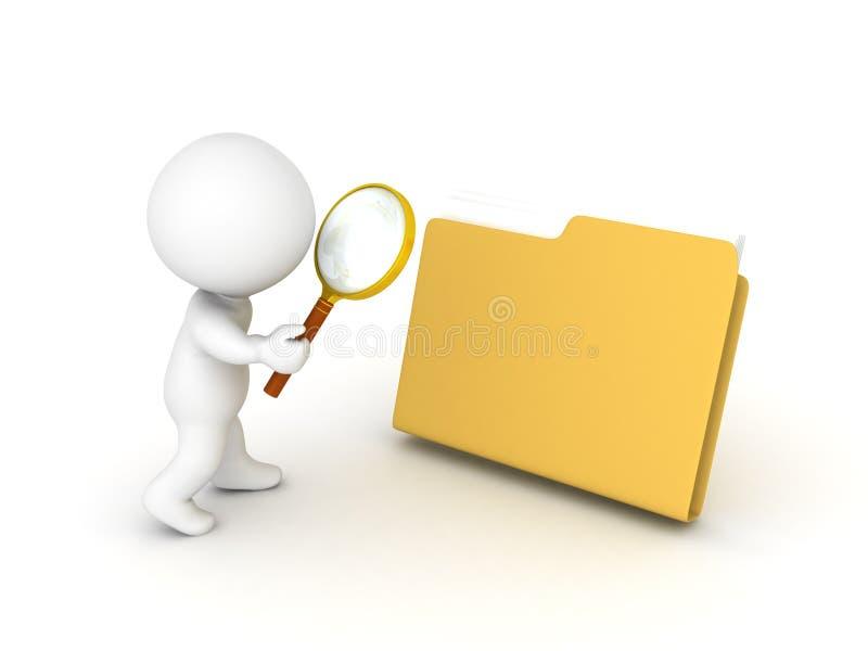 τρισδιάστατος χαρακτήρας που ψάχνει το φάκελλο απεικόνιση αποθεμάτων