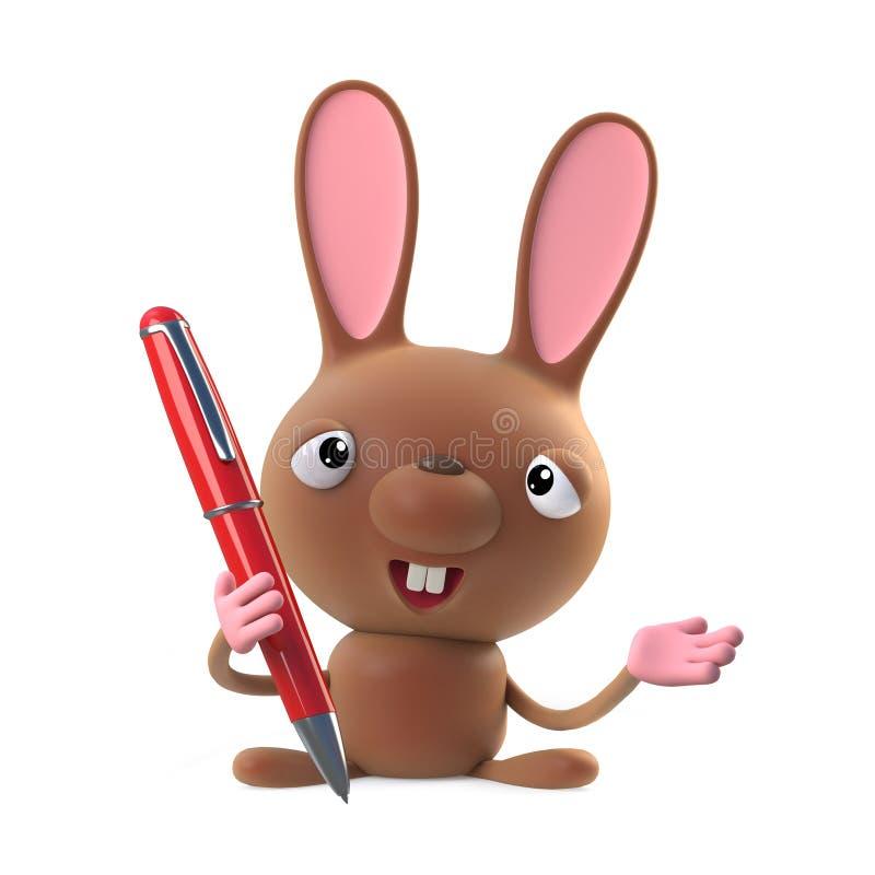 τρισδιάστατος χαριτωμένος χαρακτήρας κουνελιών λαγουδάκι Πάσχας κινούμενων σχεδίων που κρατά μια μάνδρα ελεύθερη απεικόνιση δικαιώματος