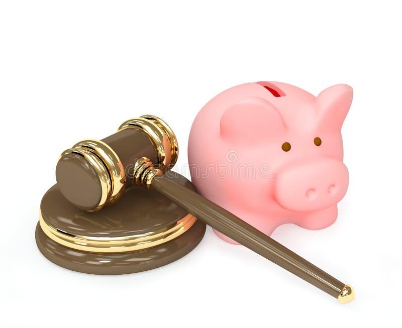 τρισδιάστατος gavel τραπεζών δικαστικός piggy διανυσματική απεικόνιση