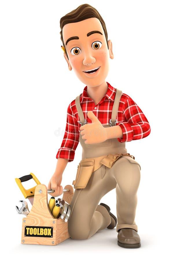 τρισδιάστατος handyman με την εργαλειοθήκη και τον αντίχειρα επάνω απεικόνιση αποθεμάτων
