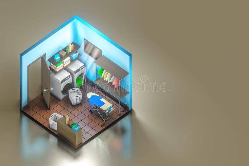 τρισδιάστατος isometric πυροβολισμός απόδοσης του εσωτερικού σχεδίου δωματίων πλυντηρίων με το πλυντήριο με το σιδέρωμα του πίνακ απεικόνιση αποθεμάτων