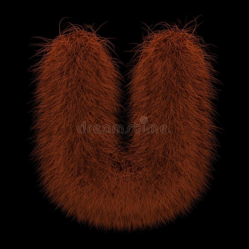 τρισδιάστατος Orangutan πιπεροριζών απεικόνισης απόδοσης δημιουργικός γούνινο γράμμα U διανυσματική απεικόνιση