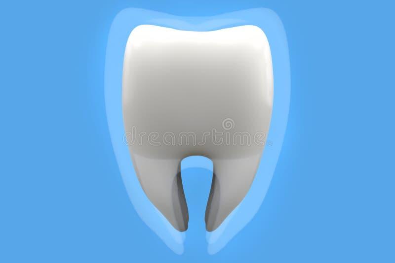 τρισδιάστατο άσπρο υγιές δόντι τρισδιάστατο λευκό προστασίας έννοιας απομονωμένο εικόνα τρισδιάστατη απεικόνιση διανυσματική απεικόνιση