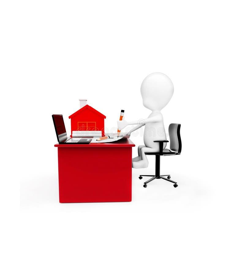 τρισδιάστατο άτομο που επισύρει την προσοχή σε χαρτί για ένα γραφείο με το μικρό πρότυπο του σπιτιού και διανυσματική απεικόνιση