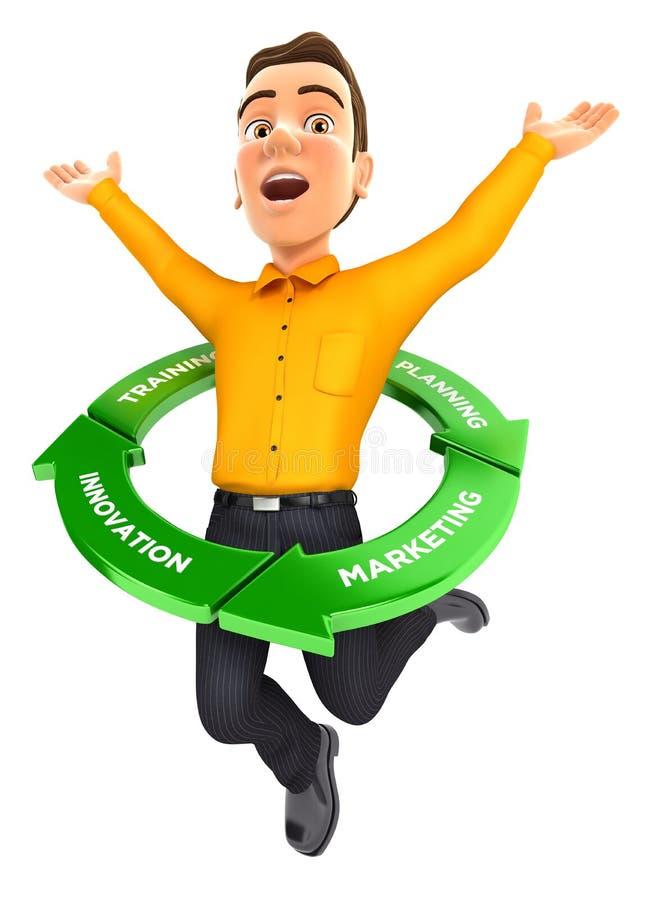 τρισδιάστατο άτομο που πηδά μέσα στον κύκλο επιτυχίας ελεύθερη απεικόνιση δικαιώματος