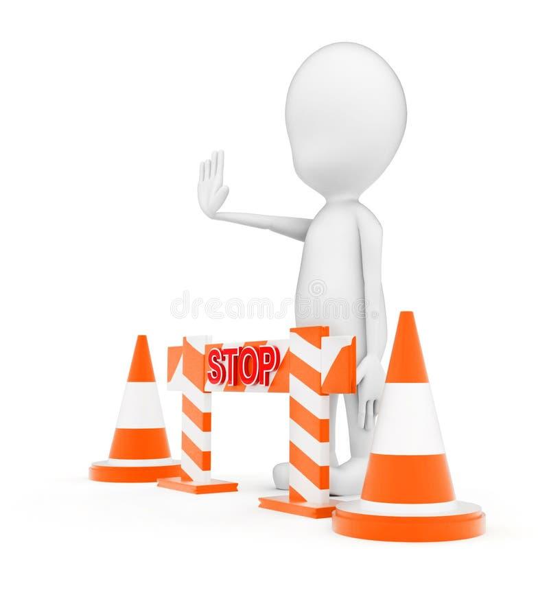 τρισδιάστατο άτομο που στέκεται πλησίον στους κώνους κυκλοφορίας και ένα εμπόδιο και που κάνει τη χειρονομία στάσεων από την έννο διανυσματική απεικόνιση