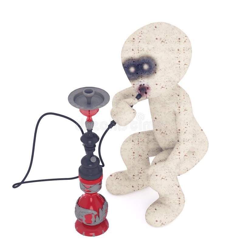 τρισδιάστατο άτομο Zombie Shisha που καπνίζει από την απεικόνιση σωλήνων Hookah στοκ φωτογραφία με δικαίωμα ελεύθερης χρήσης