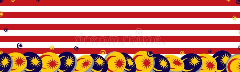 τρισδιάστατο έμβλημα στοιχείων κύκλων σημαιών της Μαλαισίας απεικόνιση αποθεμάτων