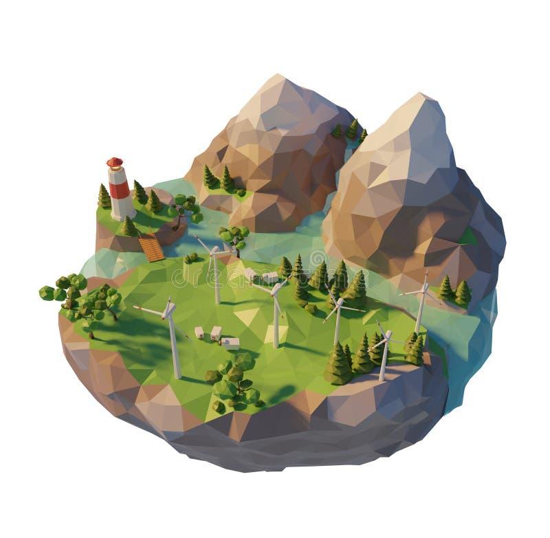 τρισδιάστατο αιολικό πάρκο σε ένα επιπλέον χαμηλό πολυ νησί Πράσινος ανεμοστρόβιλος ενεργειακής έννοιας Eco Οικολογική ανανεώσιμη απεικόνιση αποθεμάτων